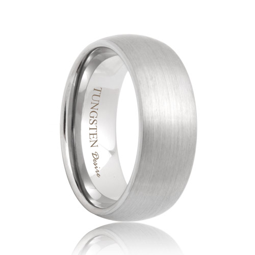 View Larger Image Undefined 8mm Domed Brushed White Tungsten Ring