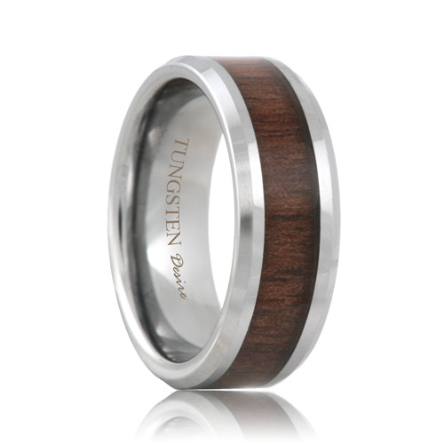Tungsten Black Walnut Wood Inlay Ring (6mm - 8mm)