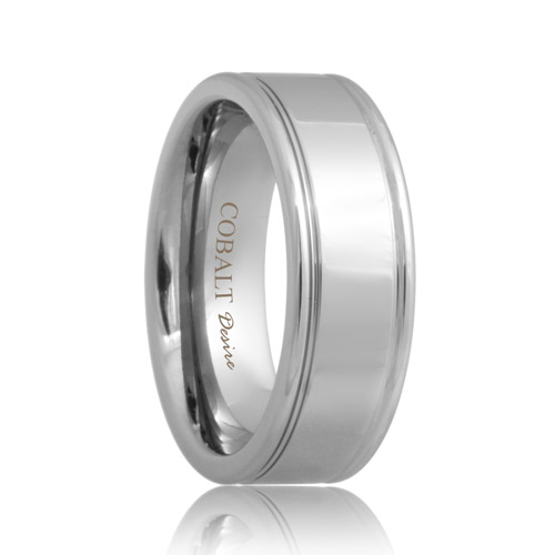 Polished Two Groove Cobalt Chrome Ring (6mm - 8mm)