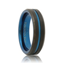 Thin Blue Line Matte Beveled Black Tungsten Band