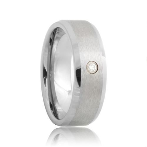 Diamond Beveled Satin Cobalt Chrome Wedding Ring
