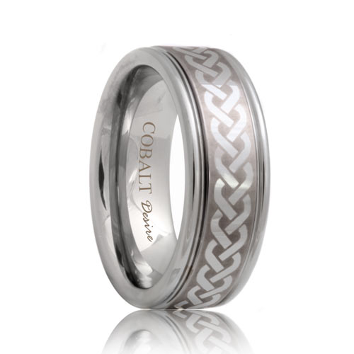Engraved Celtic Knot Cobalt Wedding Ring (6mm - 8mm)