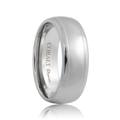 Domed Dual Grooved Cobalt Wedding Ring (6mm - 8mm)