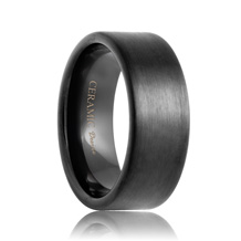 Flat Brushed Black Ceramic Wedding Band