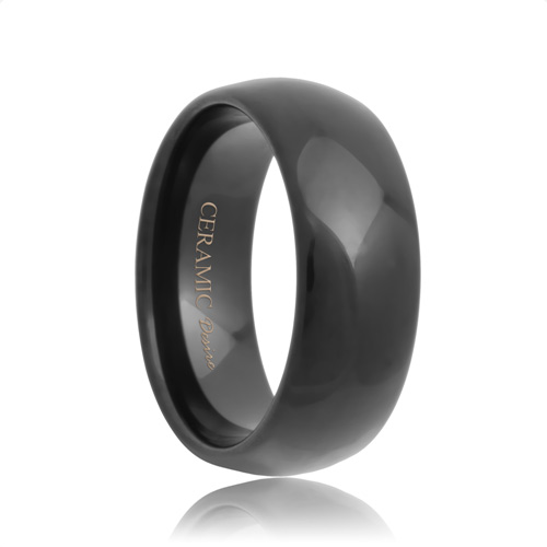 Dome Unique Black Ceramic Wedding Band (6mm - 8mm)
