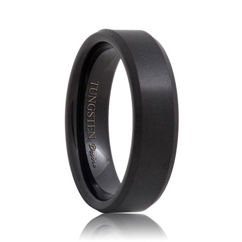 Brushed Beveled Black Tungsten Band