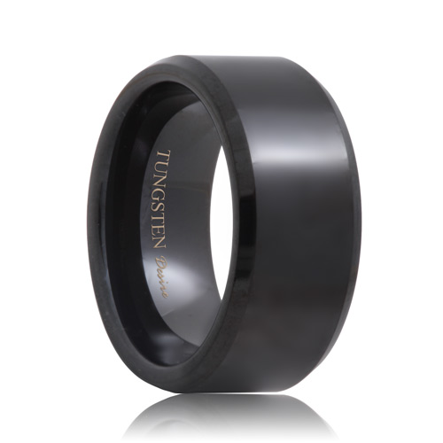 Beveled 10mm Wide Black Tungsten Wedding Band