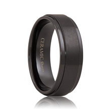 Brushed Step Edge Black Ceramic Wedding Ring
