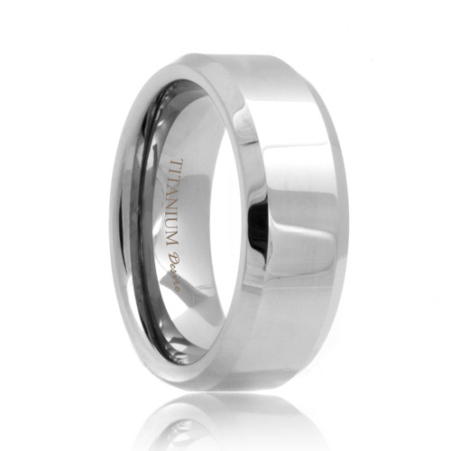 Beveled Polished Titanium Ring (6mm - 8mm)