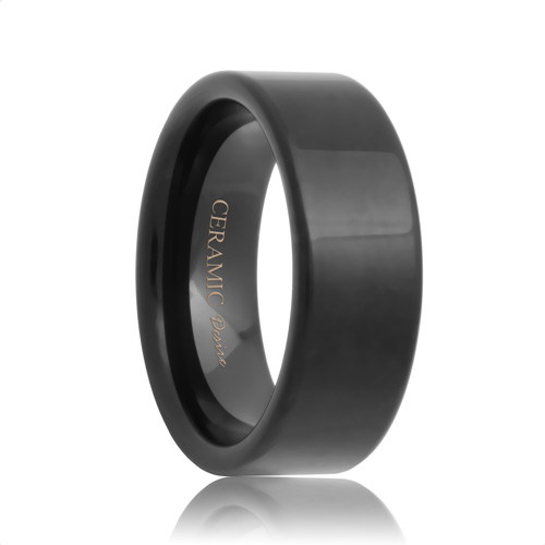 Polished Flat Unique Black Ceramic Wedding Band