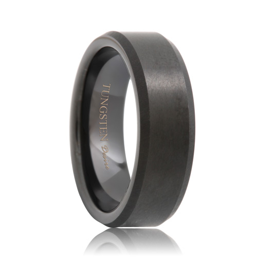 beveled brushed black tungsten wedding ring 6mm 8mm - Tungsten Wedding Rings