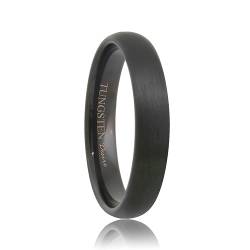 Domed Brushed Black Tungsten Carbide Band