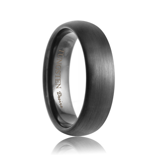6mm Buffalo Domed Brushed Black Tungsten Carbide Ring