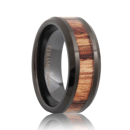 Black Ceramic Zebra Wood Grain Band (6mm - 8mm)