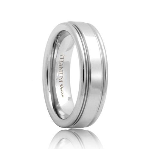 Double Grooved High Polished Flat Titanium Band