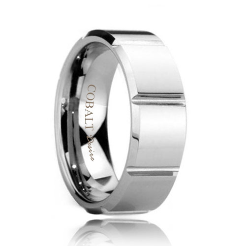 Square Facet Comfort Fit Cobalt Chrome Wedding Ring