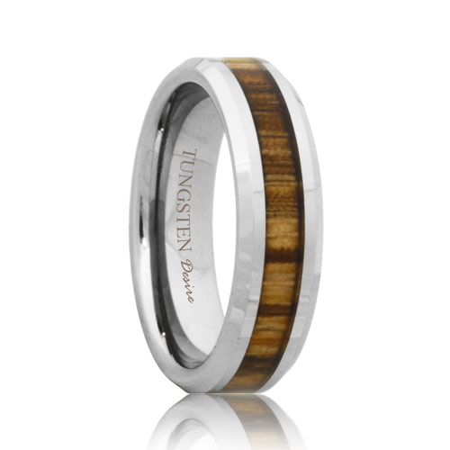6mm tungsten band with zebra wood grain inlay - Wood Wedding Ring