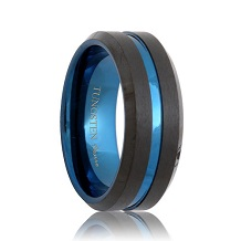 Thin Blue Line Satin Black Tungsten Ring (6mm - 8mm)