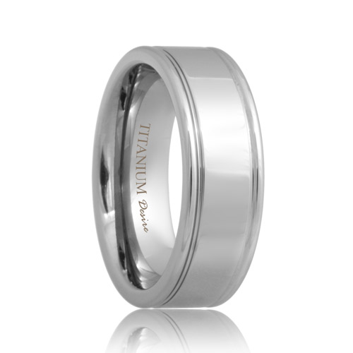 Two Groove Flat Polished Titanium Ring (6mm - 8mm)