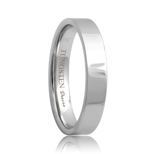 Yonkers Flat 4mm White Tungsten Ring