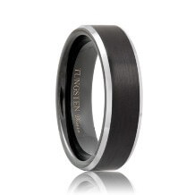 Brushed Polished Bevels Black Tungsten Wedding Band