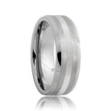 Beveled Brushed Tungsten Wedding Ring with Palladium Inlay (6mm - 8mm)