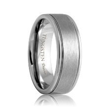 Brushed Tough Tungsten Carbide Band with Grooves (6mm - 8mm)