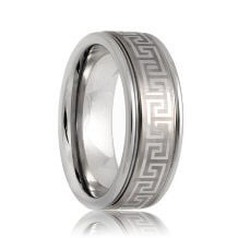 Laser Etched Celtic Greek Key Pattern Tungsten Band