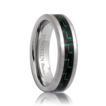 Tungsten Wedding Band With Green & Black Carbon Fiber Inlaid