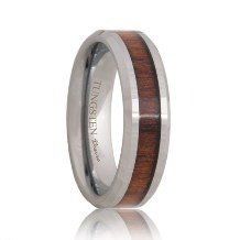 Koa Wood Grain Inlaid Tungsten Carbide Ring