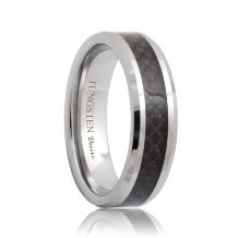 Beveled Black Carbon Fiber Tungsten Engagement Ring