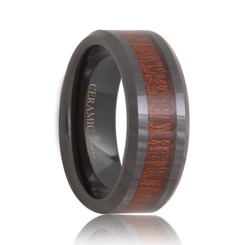 ceramic inlaid rose wood wedding band 6mm 8mm - Ceramic Wedding Rings