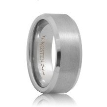 Brushed Beveled Durable Tungsten Wedding Ring (6mm - 8mm)