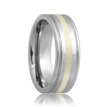 Dual Grooved Sterling Silver Inlayed Tungsten Carbide Ring (6mm - 8mm)