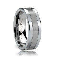 Flat Dual Groove Brushed Center Polished Edges Tungsten Promise Ring