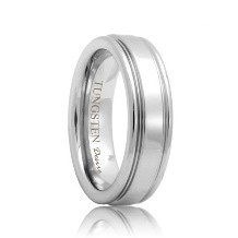 Grooved Polished Shine Tungsten Carbide Wedding Ring