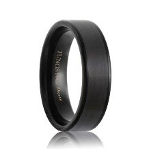 Pipe Cut Satin Black Tungsten Ring with Polish Edges
