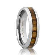 Tungsten Band with Zebra Wood Grain Inlay