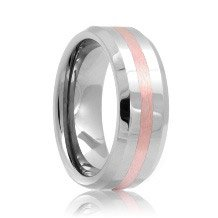 Beveled Rose Gold Inlay Tungsten Carbide Wedding Band (6mm - 8mm)